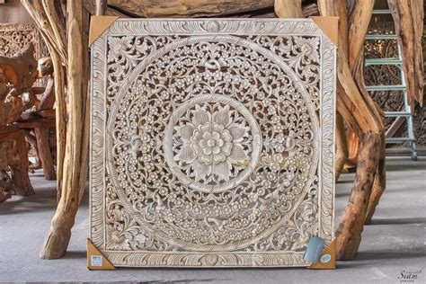 Square White Wood Carved Wall Art