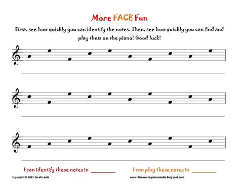 Discoveries Piano Studio Face Worksheets