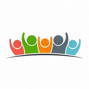 Team five people logo clipart. Concept of group of people ...