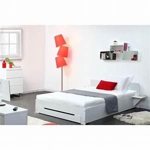 Lit Blanc 1 Personne : miliboo lit design blanc 1 personne 90x190 loris achat vente structure de lit soldes ~ Teatrodelosmanantiales.com Idées de Décoration