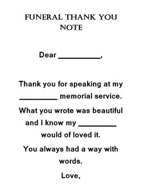 funeral   notes wording  geographics word