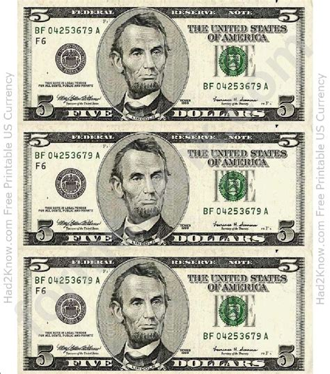 dollar bill template front printable