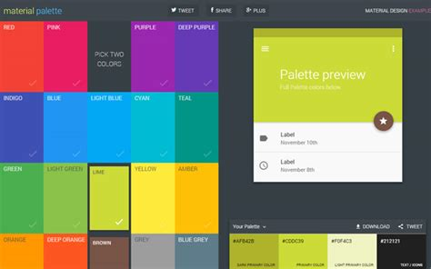 material colors material design color palettes 9 useful tools webpagefx