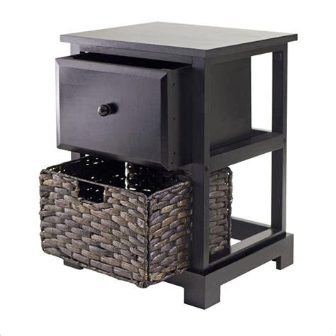 Casablanca Espresso Accent Table With Folding Basket 92917