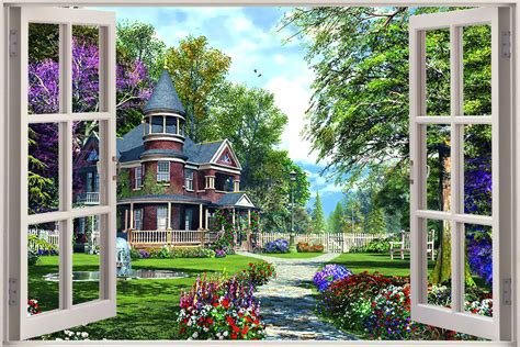 Huge 3d Window Enchanted Garden Wall Sticker Mural Art