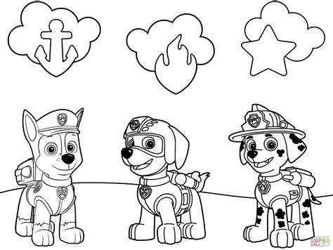 paw patrol badges coloring page  printable coloring