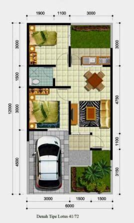 denah rumah type  minimalis sederhana desain