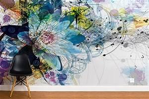 papier peint design moderne et original izoa With affiche chambre bébé avec grossiste fleur de bain