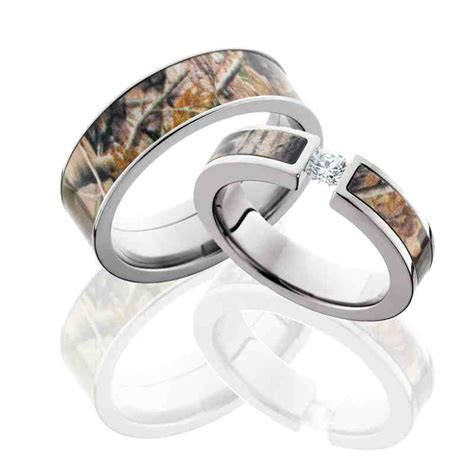 camo wedding ring sets for him and her wedding and