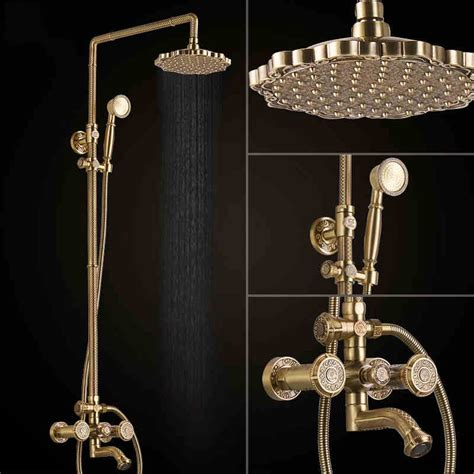 Solid Brass Bathroom Fixtures by Deluxe Carving Retro Style Solid Brass Bathroom Shower Set