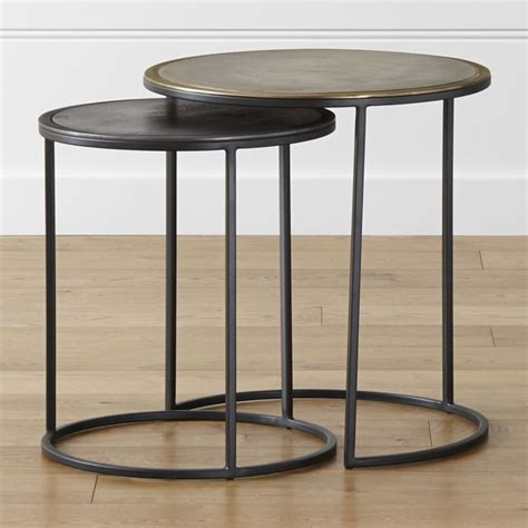 set of two table ls knurl nesting accent tables set of two crate and barrel