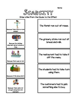 scarcity cause effect activity by teaching math with mrs