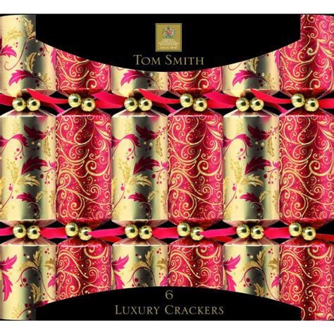 6 luxury christmas crackers 12 5 quot red gold buy online