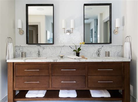 Modern Bathroom Tile Backsplash by White Herringbone Tile Backsplash Transitional