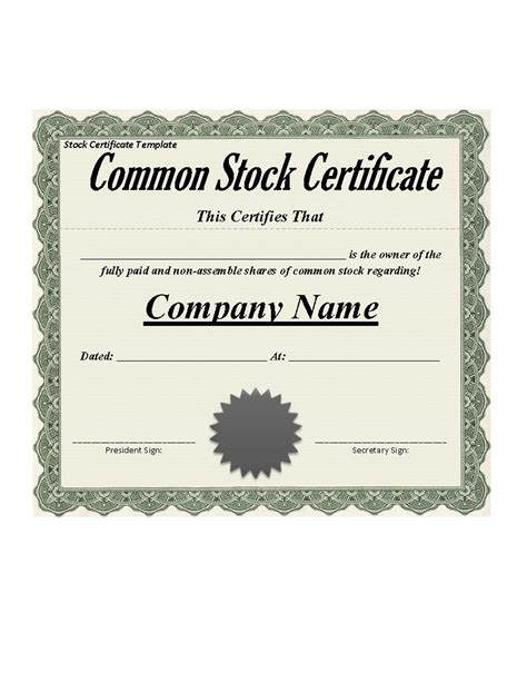 Stock Certificate Template by 40 Free Stock Certificate Templates Word Pdf
