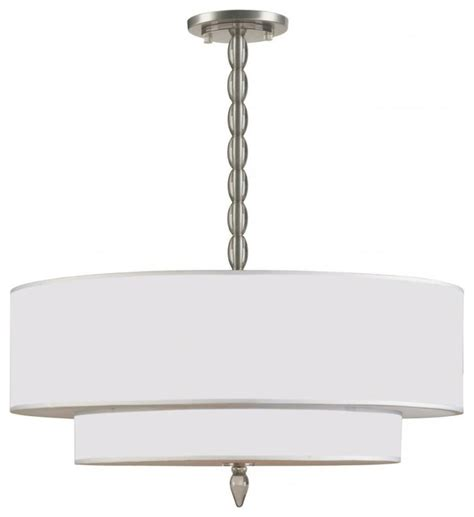 luxo five light satin nickel drum shade chandelier