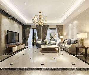 3d, Model, European, Modern, Living, Room, With, Luxury, Design