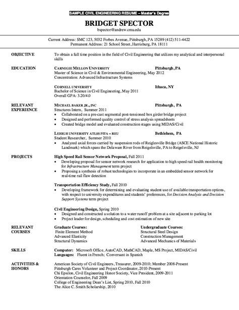 Master S Degree Resume Objective by Resume For Master Degree Civil Engineering Http