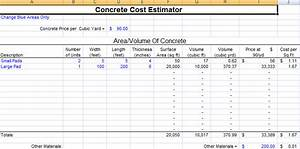 famous excel cost estimate template contemporary With concrete estimate template