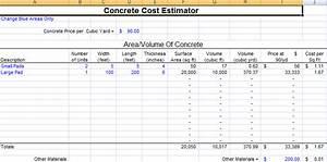 famous excel cost estimate template contemporary With concrete estimate template