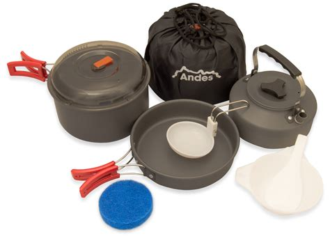 camping kettle cooking pans pots cookware kitchen cook aluminium andes anodised portable campsite support trekking