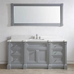 72 Inch Gray Finish Single Sink Bathroom Vanity Cabinet