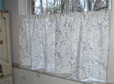 gray cafe curtains cafe curtains premier prints shannon ecru gray paisley