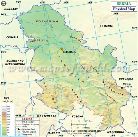 serbia physical map physical map  serbia