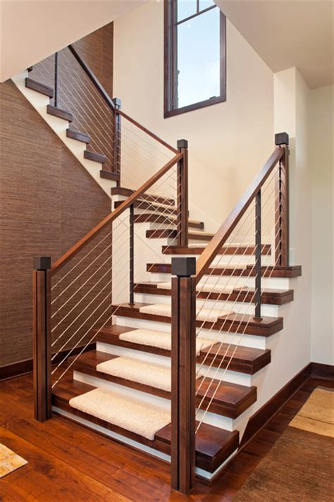 stairs lowes lowes stair treads staircase contemporary with cable rail carpet treads closed risers open