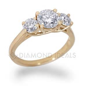 yellow gold engagement rings diamondideals three trellis engagement ring in yellow gold
