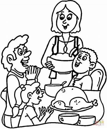 Dinner Coloring Essen Thanksgiving Colorear Turkey Zum