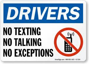 No Texting While Driving Signs