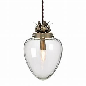 Modern glass antique brass pineapple ceiling pendant