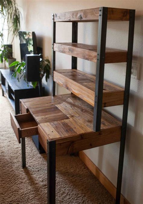 multi tiered pallet wood desk  drawer  shelves