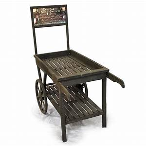 Wooden Retail Display Cart with Chalkboard - Large The