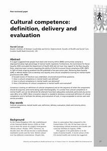 (PDF) Cultural competence: definition, delivery and ...