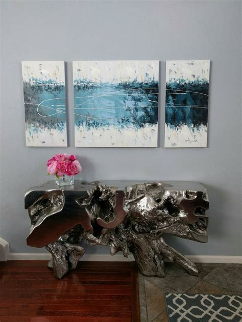 gallerie sequoia console table  silver peony flowers