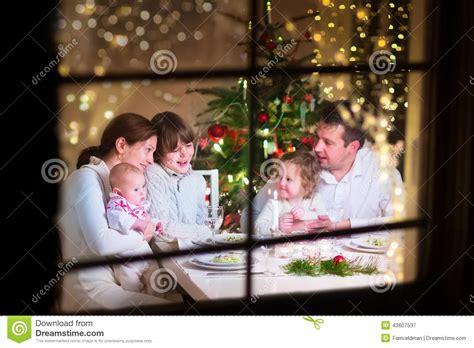 family  christmas dinner stock image image  holiday