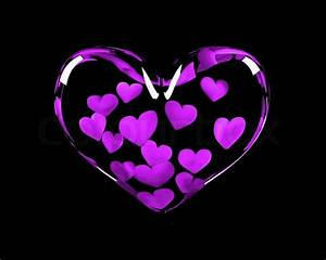 Glass Heart With 14 Violet Hearts Inside Symbolizing