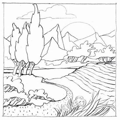Landscape Faber Castell Coloring Drawing Landschaft Template