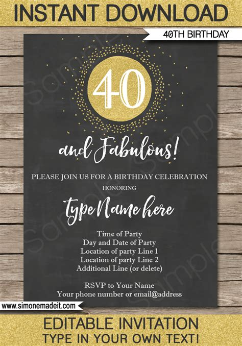 Chalkboard 40th Birthday Invitations Template Printable