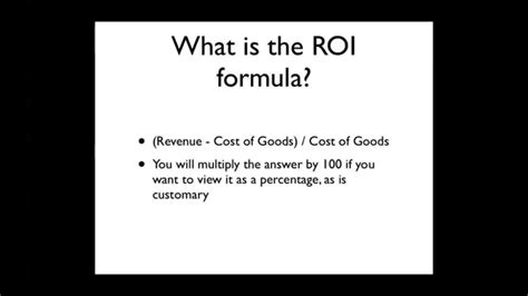 calculate roi youtube