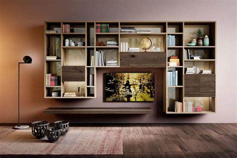 librerie e pareti attrezzate una parete attrezzata sospesa e originale lago design