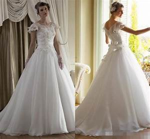 New collection vintage wedding dresses 2015 cap sleeve for Organza a line wedding dress