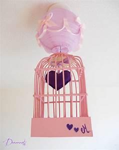 Lampe Chambre Fille : lustre suspension cage fille petit coeur violet et rose enfant b b luminaire enfant b b ~ Preciouscoupons.com Idées de Décoration