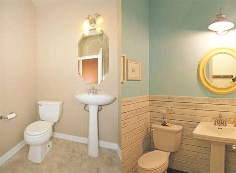 Before And After Powder Bath Makeover, Beach Theme