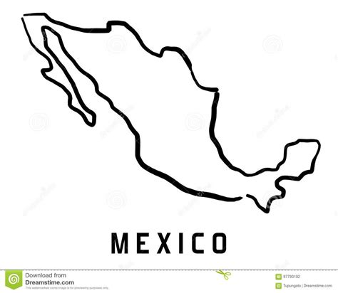 mexico map outline stock vector illustration