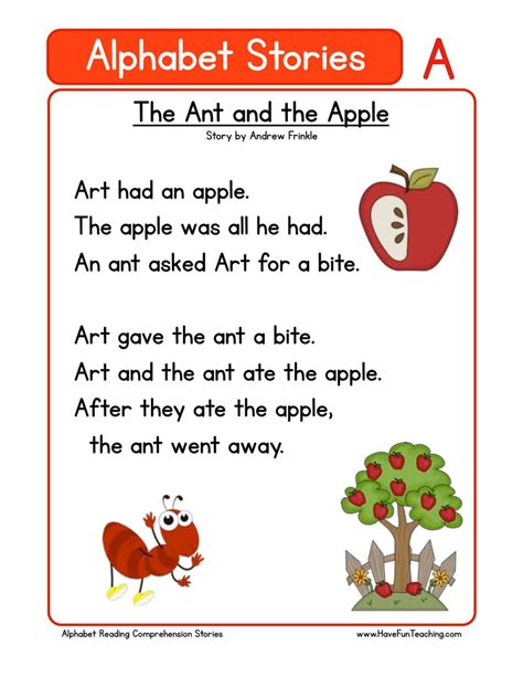 Alphabet Stories  A  Reading Comprehension Worksheet  Have Fun Teaching