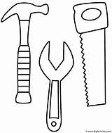 Coloring Labor Wrench Saw Hammer Tools sketch template