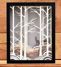 shadow box art Forest Paper Cut Shadow Box | Art Art Pieces | Bird Mafia | Scoutmob | Product Detail